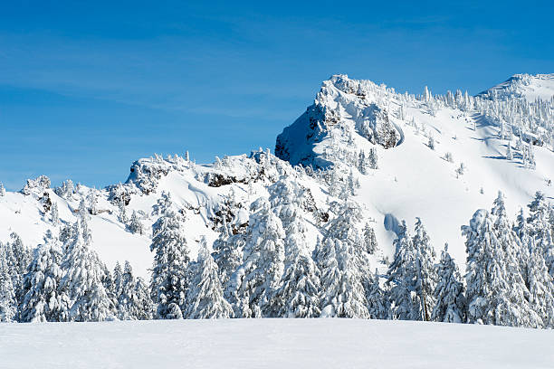 Snowy Mountain on a sunny day stock photo