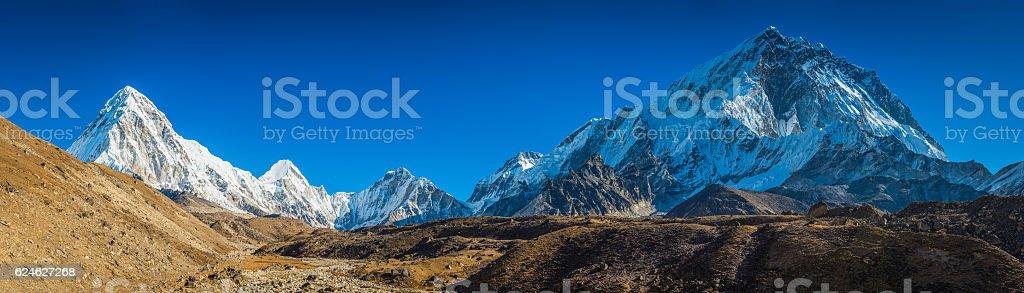 Snowy mountain peaks overlooking Khumbu Everest base camp Himalayas Nepal stock photo