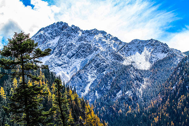 snowy moutain - snowy mountains stock photos and pictures