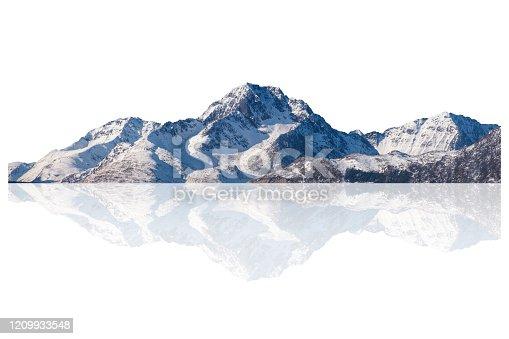Snowy mountain range on winter at Lofoten islands. Isolated on white background