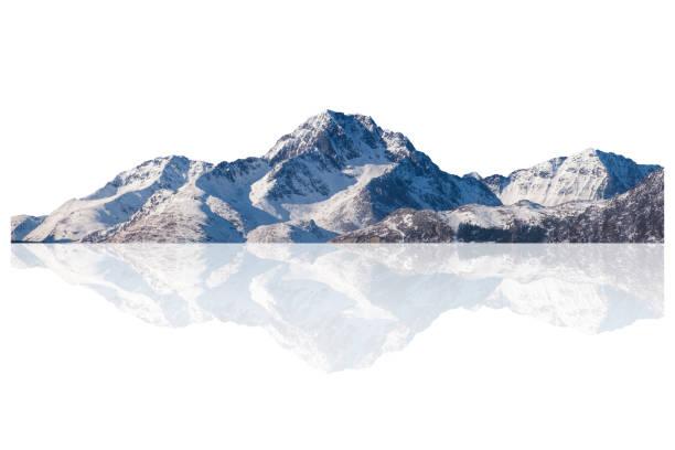 Snowy mountain range on winter at Lofoten islands stock photo