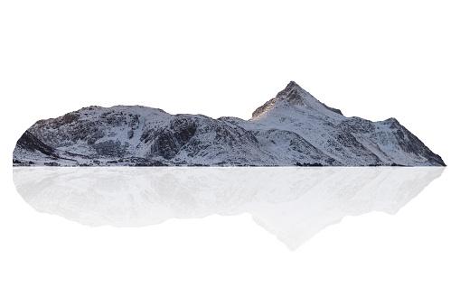 Snowy mountain range on winter at Norway