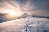 istock Snowy mountain ridge with footprint in blizzard 1010514668