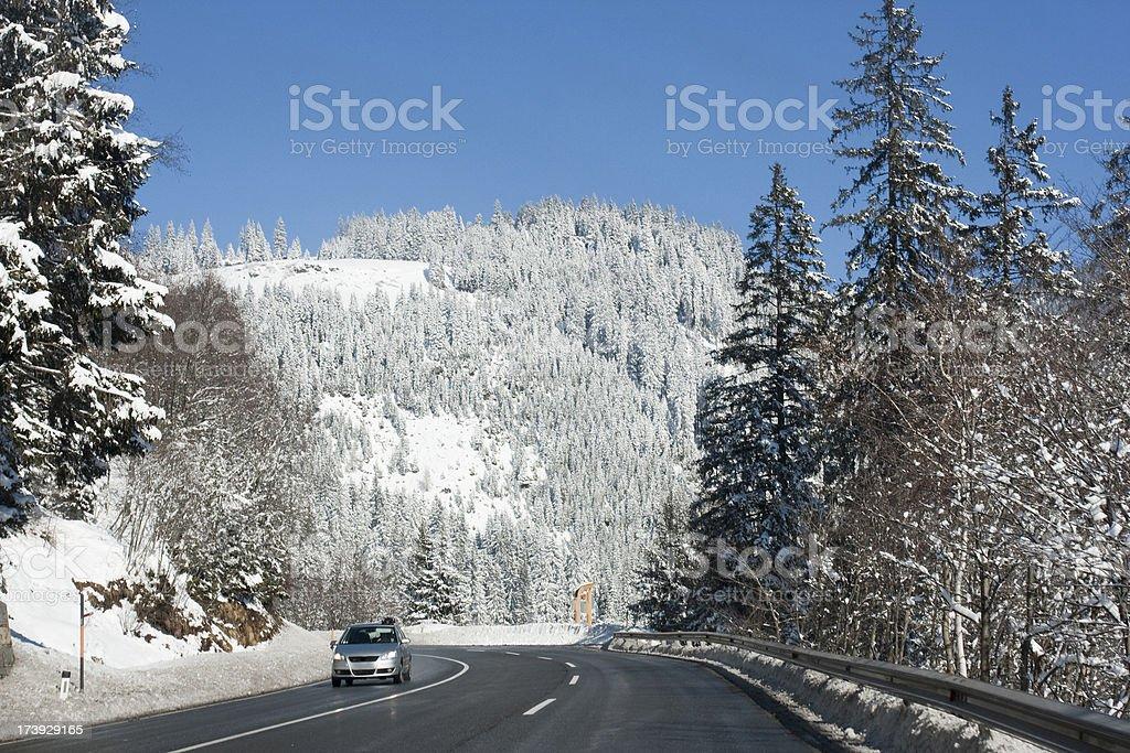 Snowy Mountain Road royalty-free stock photo