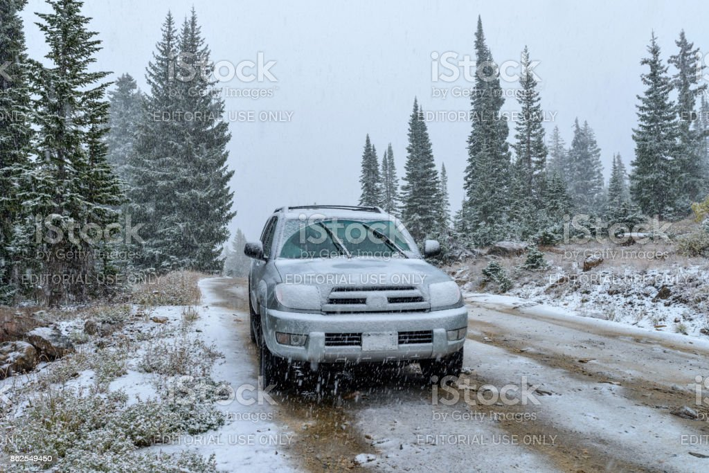 Snowy Mountain Road stock photo