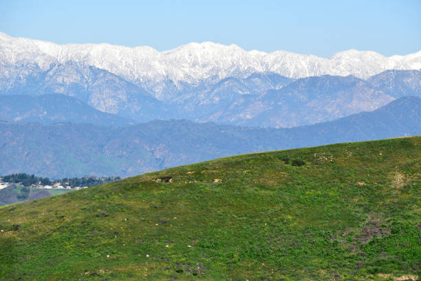 Snowy Mountains Above the San Gabriel Valley stock photo