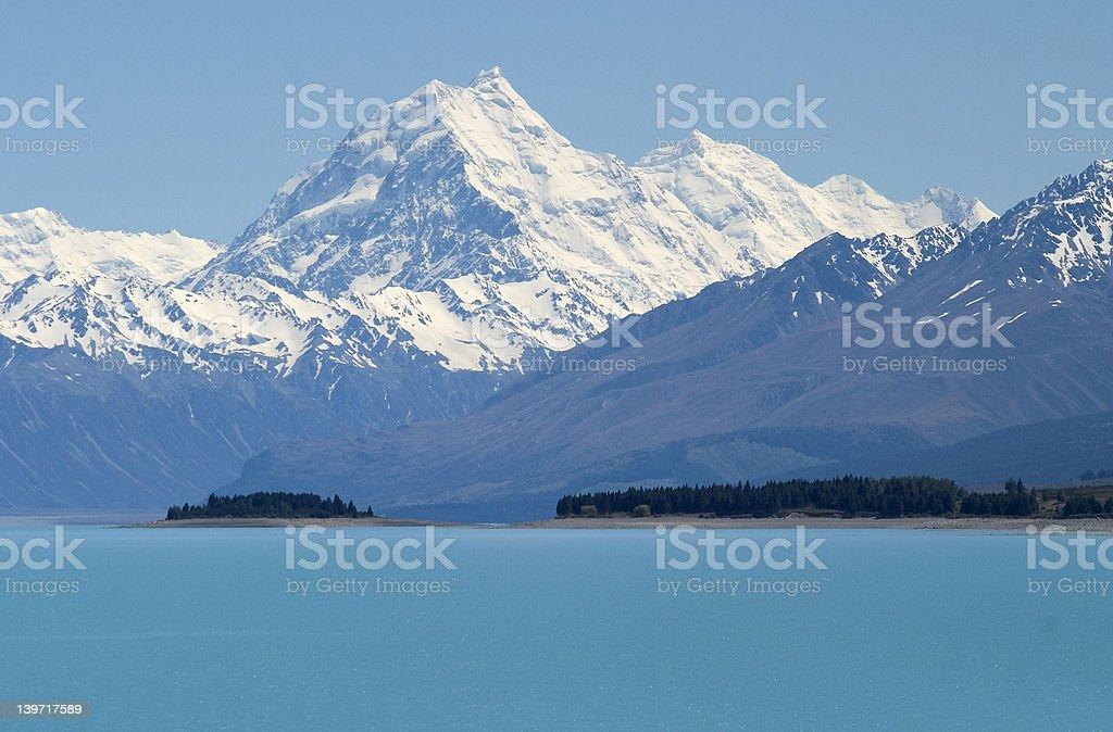 Snowy Mountains and lakes stock photo