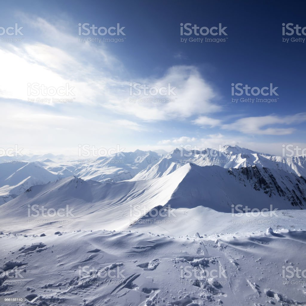 Snowy mountains at sun evening - Royalty-free Adventure Stock Photo