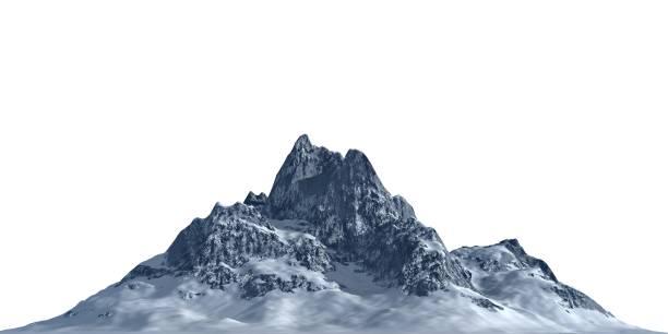 snöiga berg isolera på vit bakgrund 3d illustration - mountain bildbanksfoton och bilder