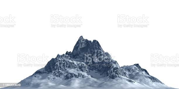 Photo of Snowy mountains Isolate on white background 3d illustration