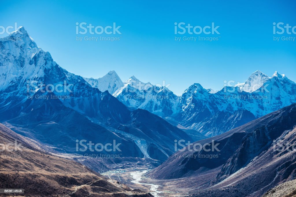 Snowy mountains of the Himalayas stock photo