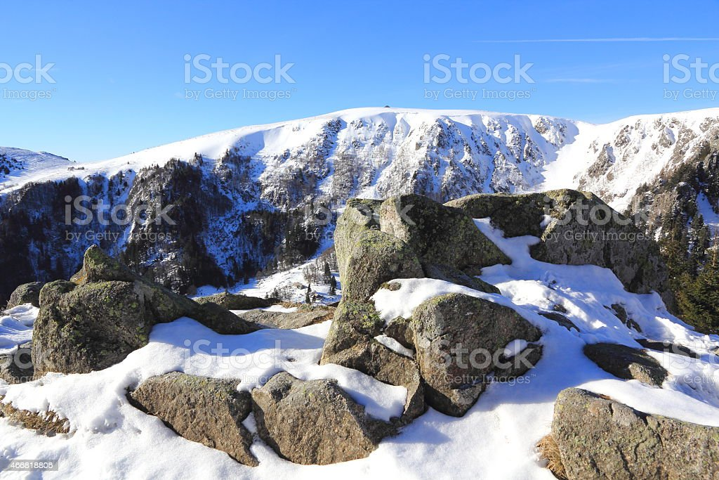 Snowy mountains of Vosges stock photo