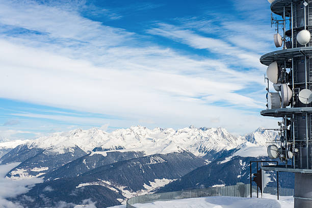 snowy mountains - emissione radio televisiva foto e immagini stock