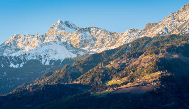 Snowy mountains surrounding Merano. Trentino Alto Adige, northern Italy. Snowy mountains surrounding Merano. Trentino Alto Adige, northern Italy. bruneck stock pictures, royalty-free photos & images