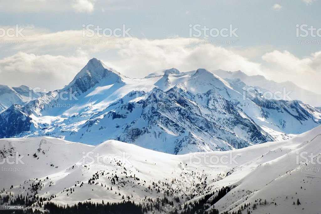 Snowy Mountaintops in the Austrian Alps stock photo