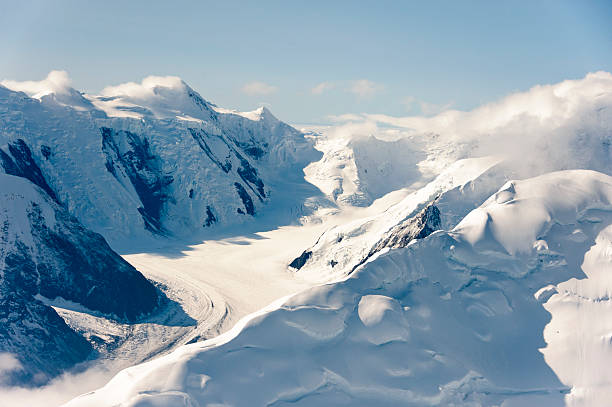 Snowy Muldrow Glacier on sunny day in Denali National Park stock photo