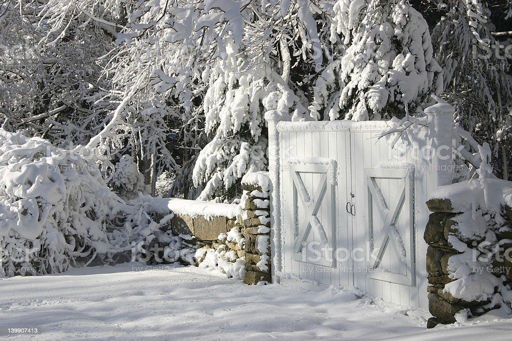 Snowy New England Gate royalty-free stock photo