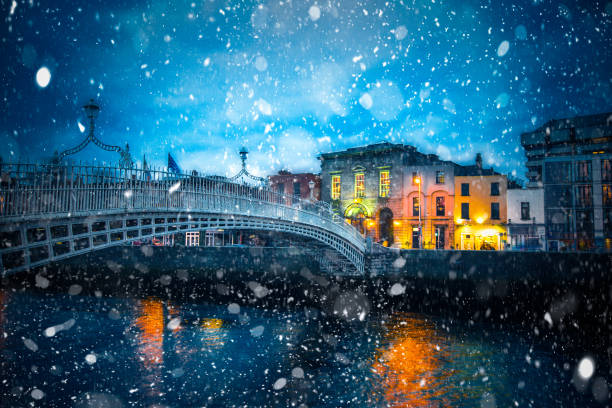Snowy Night Dublin Ireland stock photo