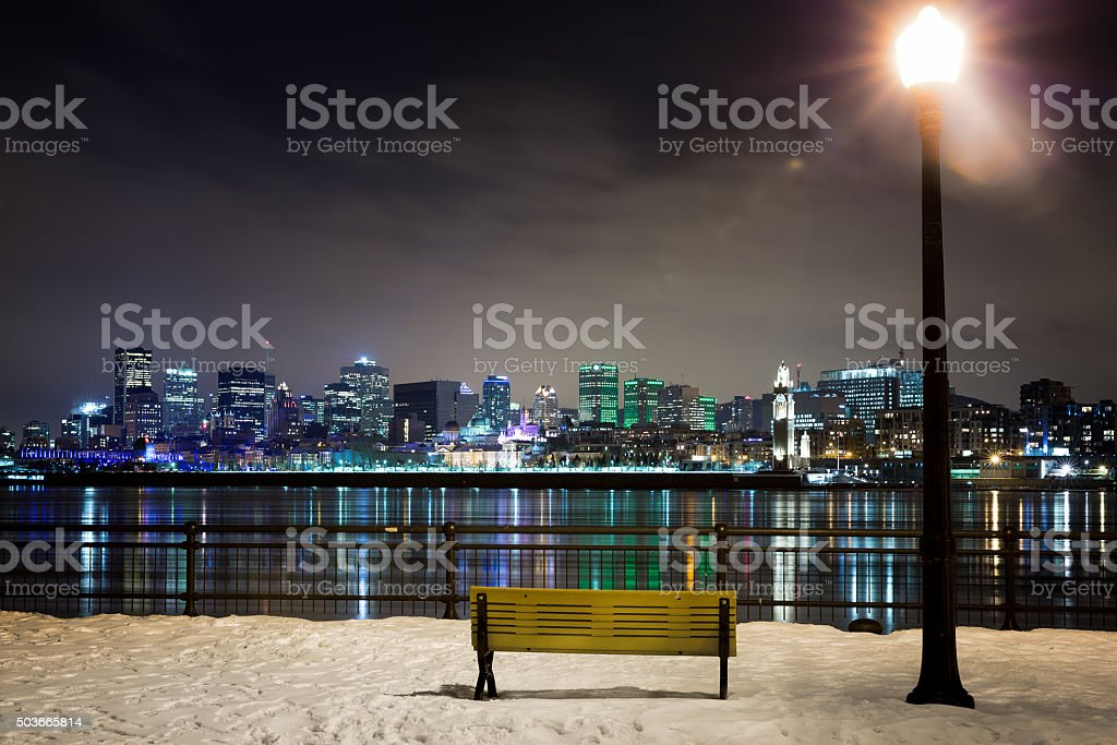 Snowy night in Montreal stock photo