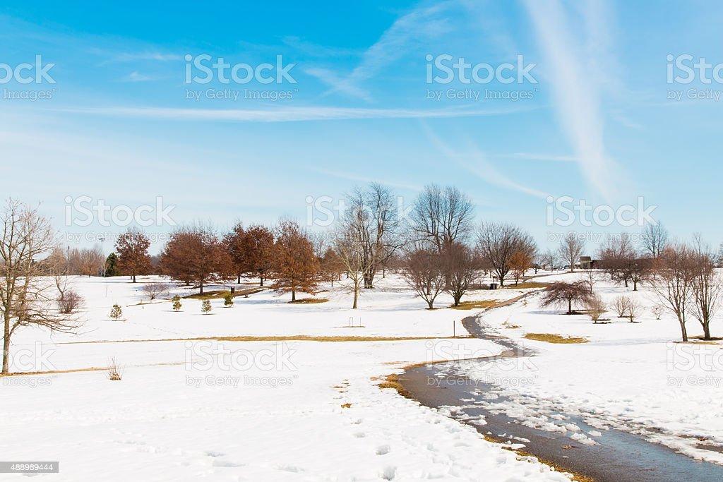 Snowy park , winter scenery stock photo
