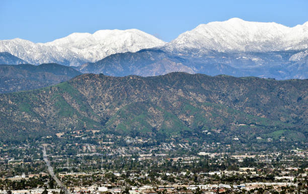 Snowy Peaks Behind the San Gabriel Valley stock photo