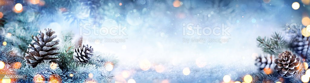 Snowy Pine Cones On Fir Branch With Christmas Lights stock photo
