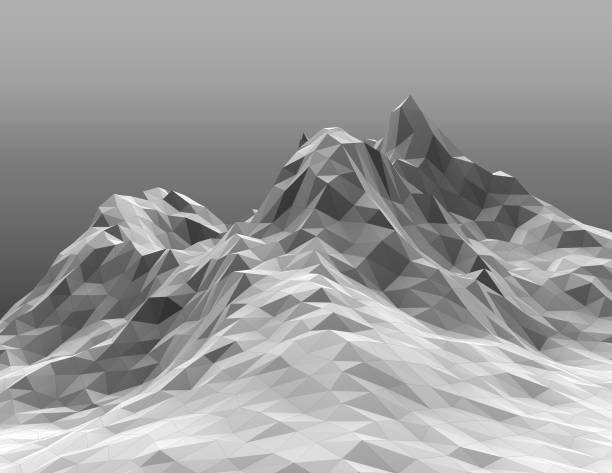 Snowy polygonal geometric mountain range black and white 3D rendering. stock photo