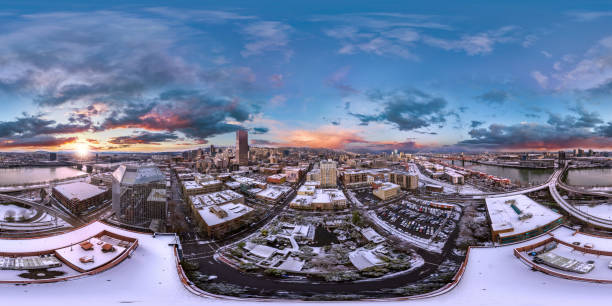 Snowy Portland downtown sunrise aerial 360 by 180 photosphere stock photo