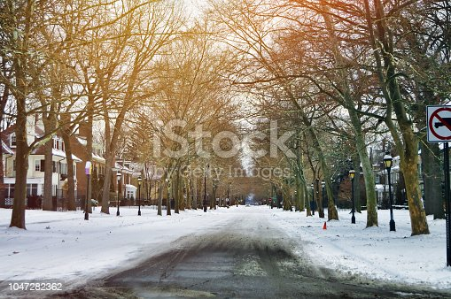 Large homes line a snow-covered residential avenue.