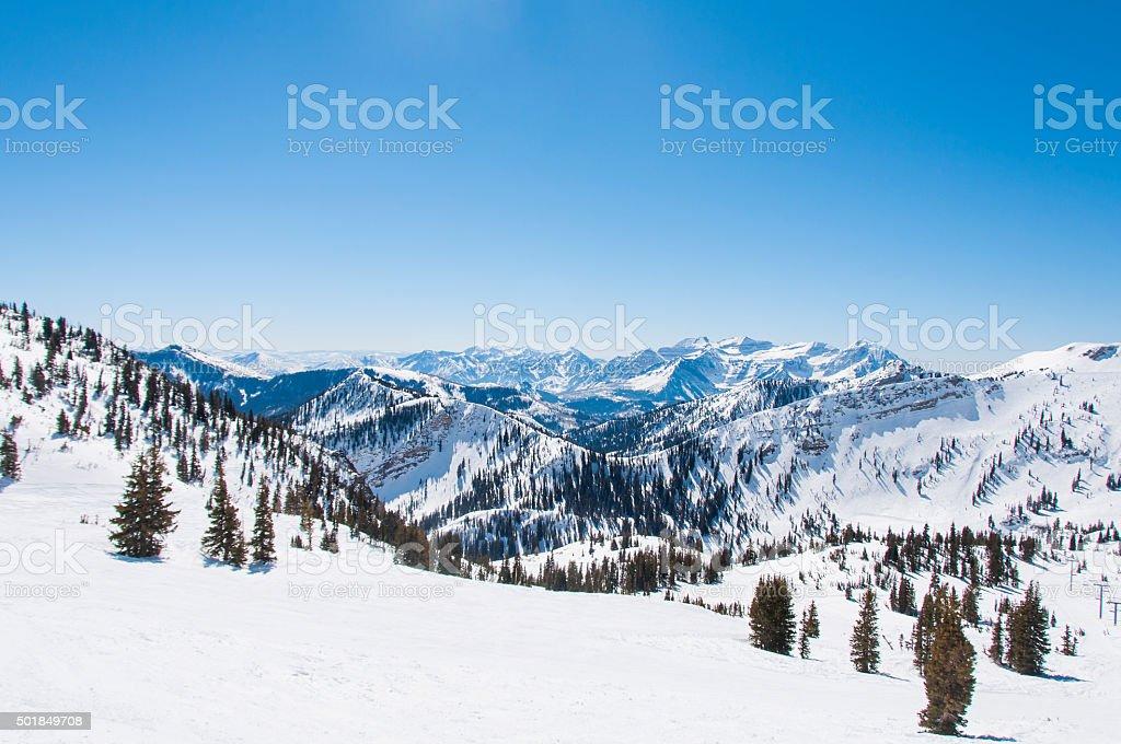 Snowy Riges behind Hidden Peak royalty-free stock photo