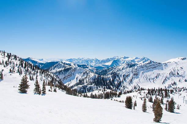 Snowy Riges behind Hidden Peak stock photo