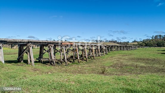 Aerial shot of the old abandoned Snowy River Rail Bridge outside of Orbost in East Gippsland.