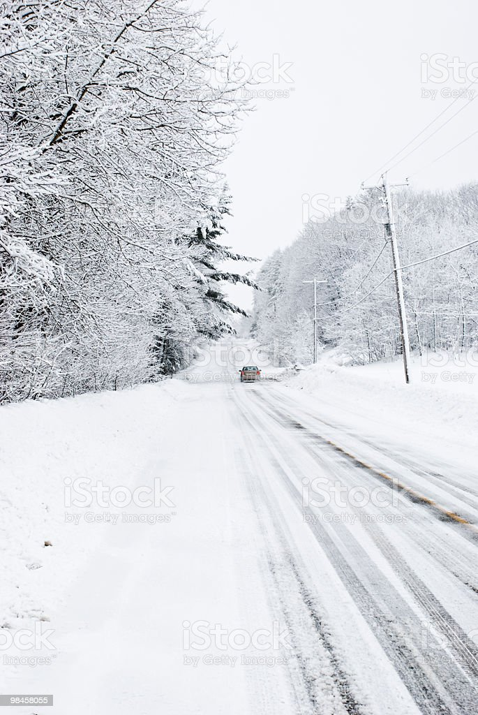 snowy road in canada winter royalty-free stock photo