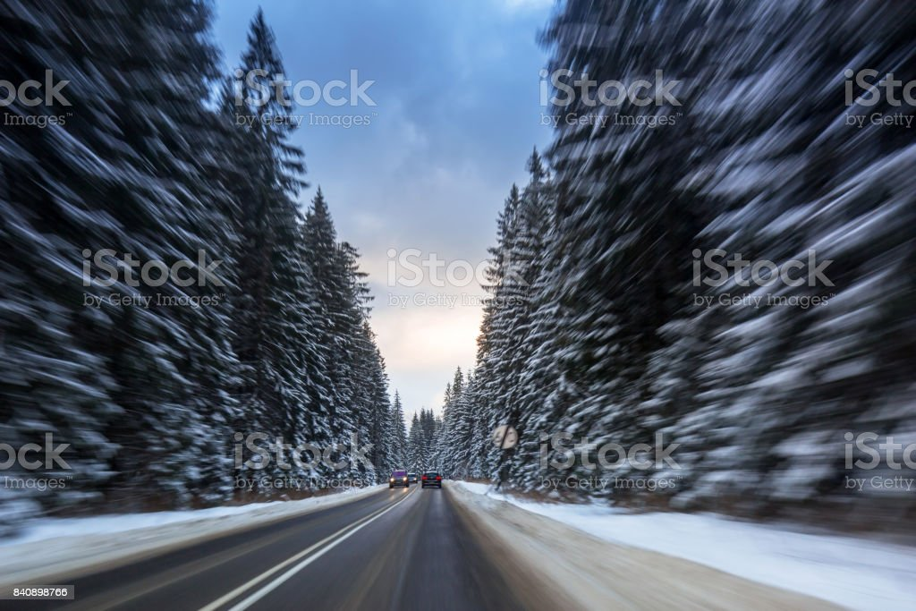 Snowy road in Tatra mountains stock photo
