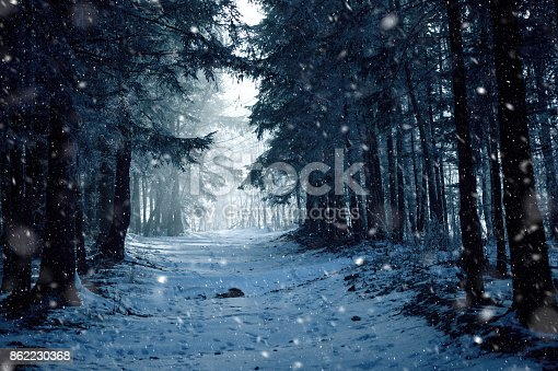 1061644120 istock photo Snowy road in winter 862230368