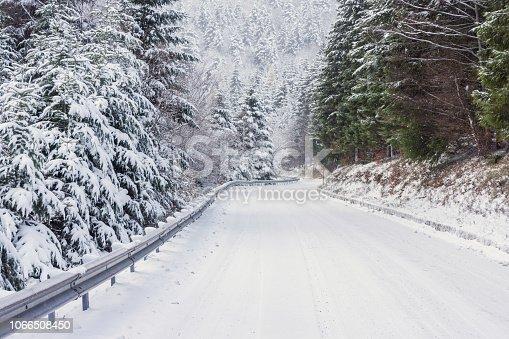 1066508460 istock photo Snowy road 1066508450