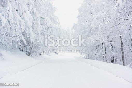 A snowy road in the Vosges mountains (France) in winter.