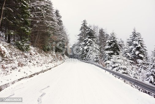 1066508460 istock photo Snowy road 1066508506