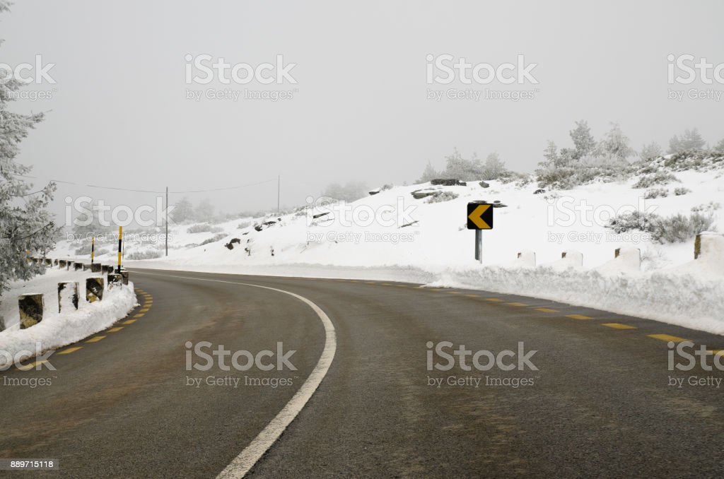 Snowy Road stock photo