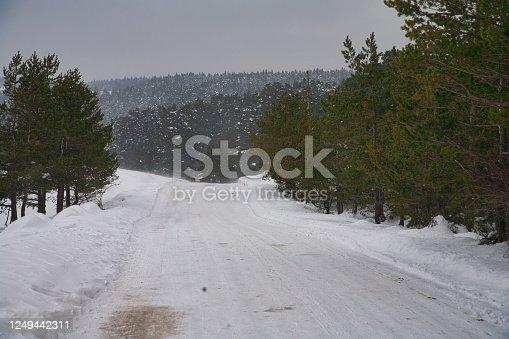 1066508460 istock photo Snowy road stock photo 1249442311