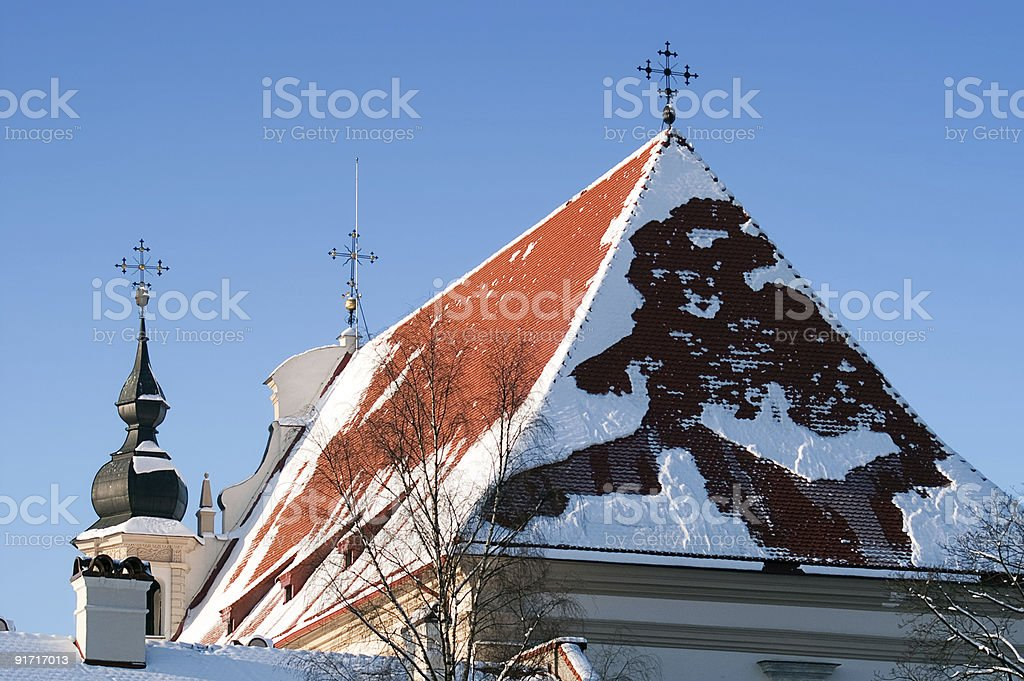 Snowy roof of the church royalty-free stock photo