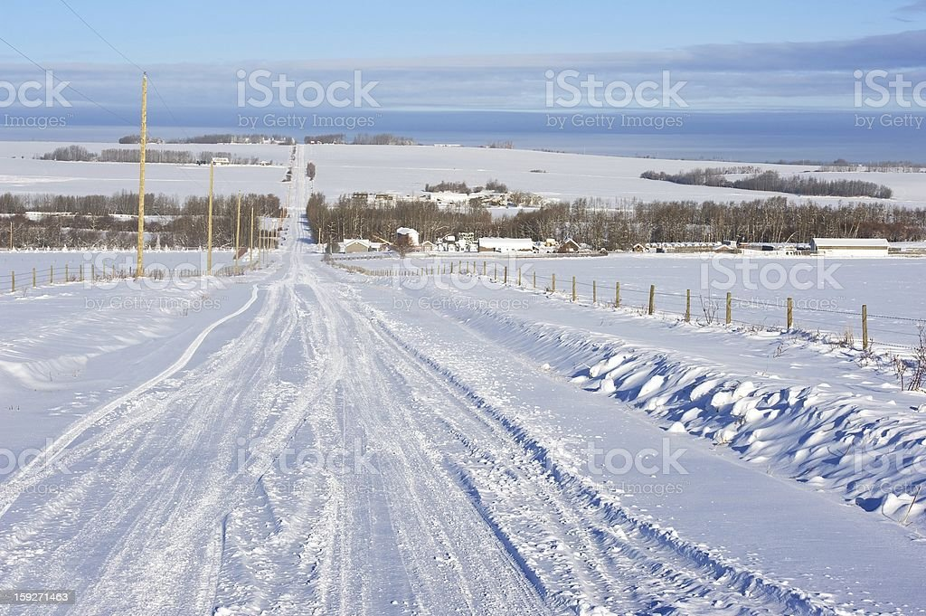 snowy rural road royalty-free stock photo