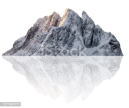 istock Snowy Sail peak mountain illustration in winter 1211347012