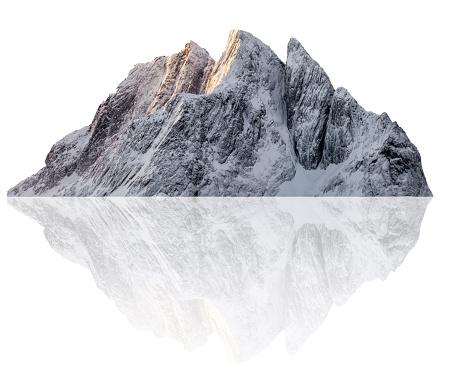 Snowy Segla peak mountain illustration in winter. Isolated on white background