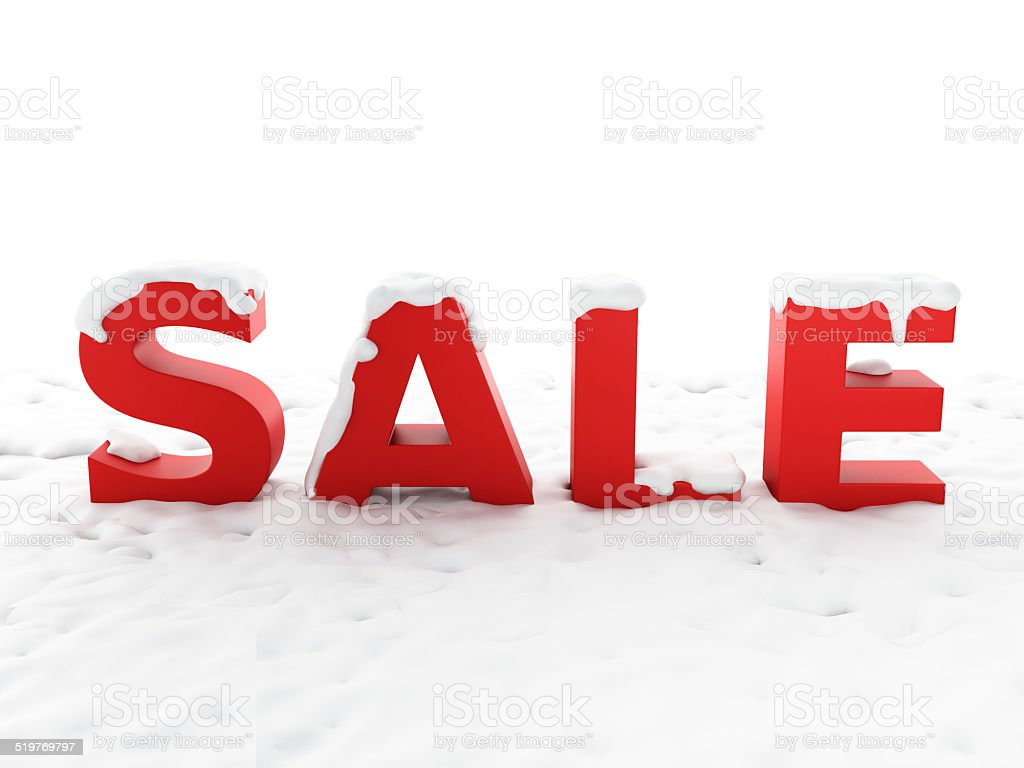 snowy sale. Winter discount concept stock photo