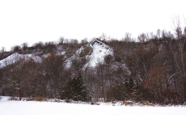 A Snowy Scene at the Scarborough Bluffs stock photo