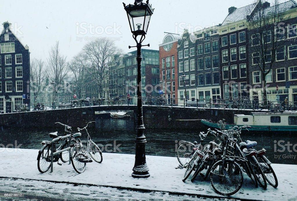 A Snowy Scene in Amsterdam stock photo
