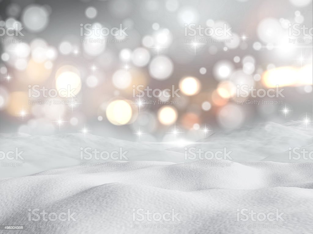 3D snowy scene stock photo