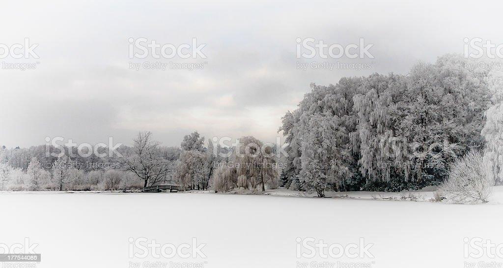 Verschneite Landschaft im Stadtpark von Bad Schwartau Lizenzfreies stock-foto