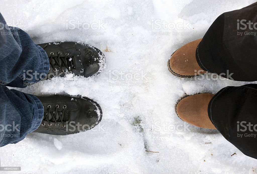 Snowy shoes royalty-free stock photo